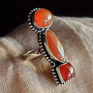 RING Silver 925 Natural Carnelian Stone